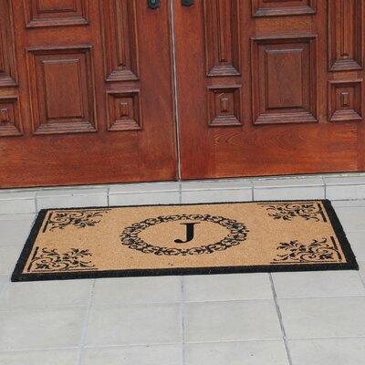 Hedvige Anti Shred Treated Non-Skid Monogrammed Entry Doormat Letter : J