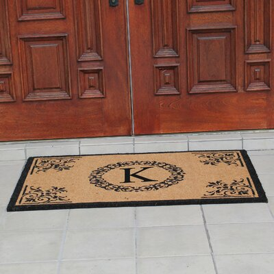 Hedvige Anti Shred Treated Non-Skid Monogrammed Entry Doormat Letter : K