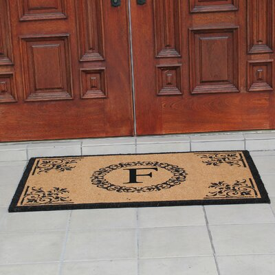 Hedvige Anti Shred Treated Non-Skid Monogrammed Entry Doormat Letter : F
