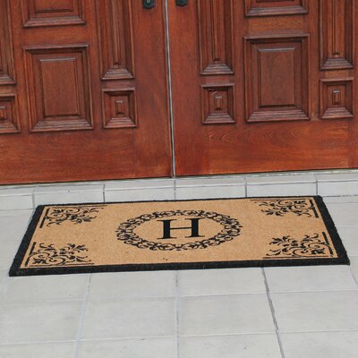 Hedvige Anti Shred Treated Non-Skid Monogrammed Entry Doormat Letter : H