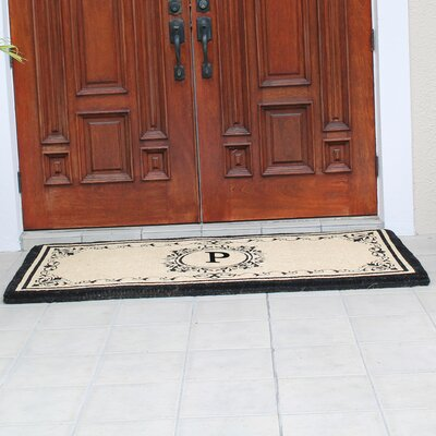 Hedvige Estate Anti Shred Monogrammed Double Doormat Letter : P