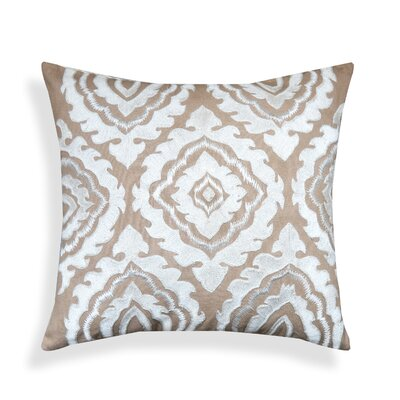 Clarion Beige Embroidered 100% Cotton Throw Pillow
