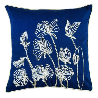 Ashtyn Beaded Lilly Flower 100% Cotton Throw Pillow Color: Blue