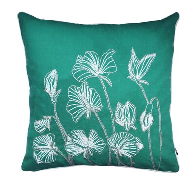Ashtyn Beaded Lilly Flower 100% Cotton Throw Pillow Color: Green