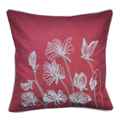 Ashtyn Beaded Lilly Flower 100% Cotton Throw Pillow Color: Red