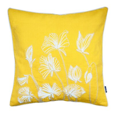 Ashtyn Beaded Lilly Flower 100% Cotton Throw Pillow Color: Yellow