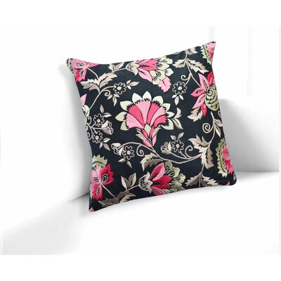 Ravens Black-Pink Primrose Floral Throw Pillow