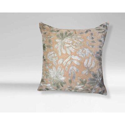 Elizebeth Floral-Embroidered 100% Cotton Velvet Throw Pillow