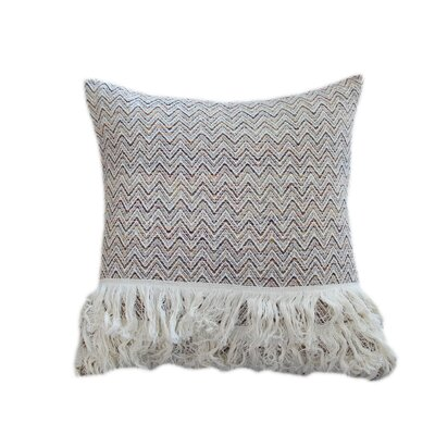 Clarabelle Geometric with Fringes 100% Cotton Throw Pillow