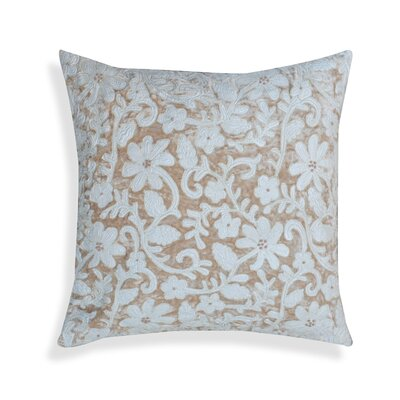 Pettaway Floral-Embroidered 100% Cotton Velvet Throw Pillow