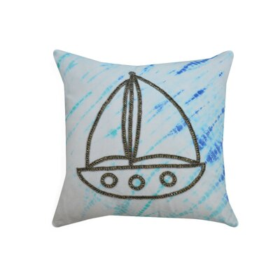 Bourne Tie and Dye Beaded Boat 100% Cotton Throw Pillow
