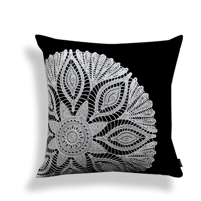 Crewel Embroidery 100% Cotton Throw Pillow Color: Black