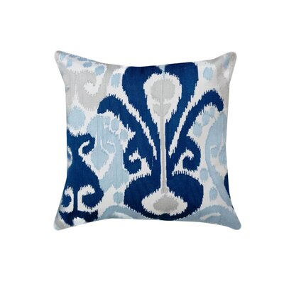 Colrain Ikat Crewel Embroidered 100% Cotton Throw Pillow