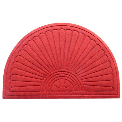 Albertina Sunburst Half -Round Eco-Poly Indoor/Outdoor Doormat Color: Red