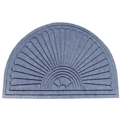 Albertina Sunburst Half -Round Eco-Poly Indoor/Outdoor Doormat Color: Medium Gray