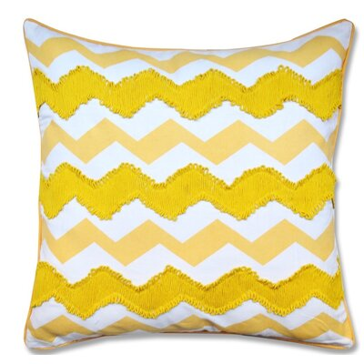 Crabill Chevron Embroidered 100% Cotton Throw Pillow Color: Yellow