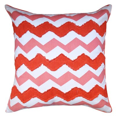 Crabill Chevron Embroidered 100% Cotton Throw Pillow Color: Red