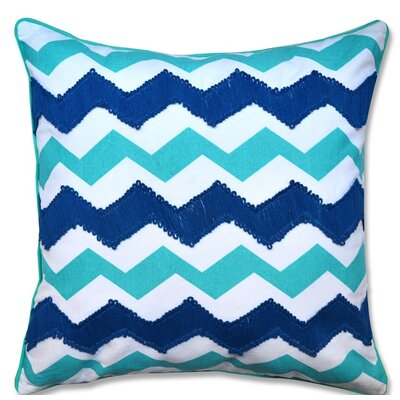 Crabill Chevron Embroidered 100% Cotton Throw Pillow Color: Blue