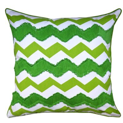 Crabill Chevron Embroidered 100% Cotton Throw Pillow Color: Green