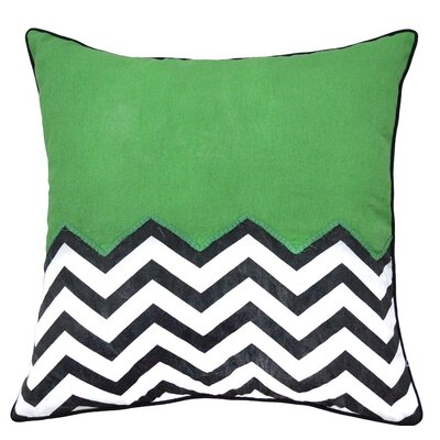Crabill Chevron Half Solid 100% Cotton Throw Pillow Color: Green