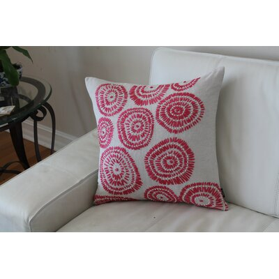 Paxson Geometric Embroidered Throw Pillow Color: Red