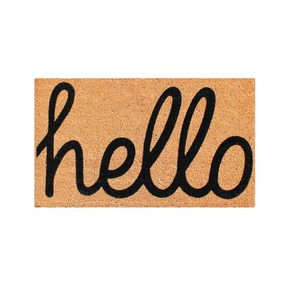 First Impression Fade Resistant Hello Entry Coir Flocked Doormat Mat Size: 3 x 2
