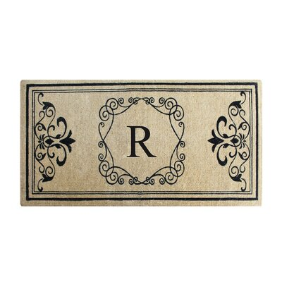 First Impression Hayley Monogrammed Entry Double Doormat Letter: R