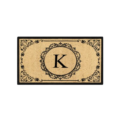 First Impression Engineered Anti Shred Treated Hanna Decorative Border Monogrammed Doormat Letter: K