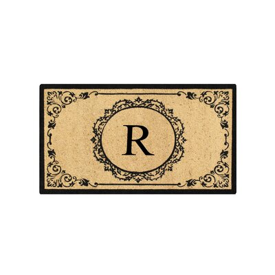 First Impression Engineered Anti Shred Treated Hanna Decorative Border Monogrammed Doormat Letter: R
