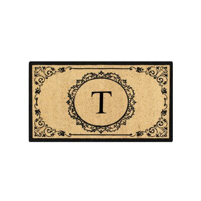 First Impression Engineered Anti Shred Treated Hanna Decorative Border Monogrammed Doormat Letter: T