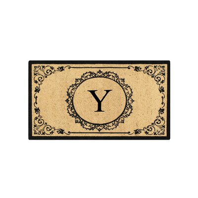 First Impression Engineered Anti Shred Treated Hanna Decorative Border Monogrammed Doormat Letter: Y