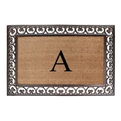 Classic Monogrammed Paisley Border Double Doormat Letter: A