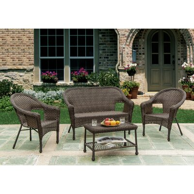 Earth Entertainment 4 Piece Sofa Seating Group Frame Finish: Brown