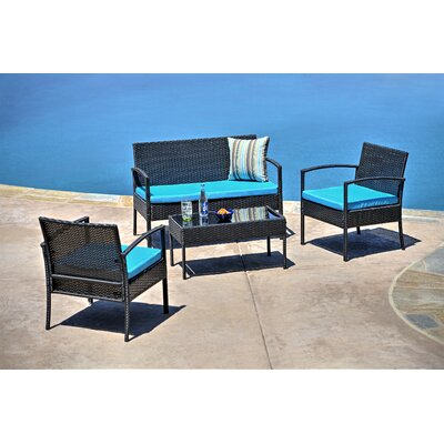 4 Piece Patio Sofa Set With Cushions Frame Color: Black, Cushion Color: Blue
