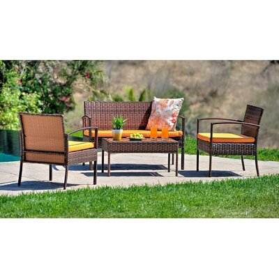 4 Piece Patio Sofa Set With Cushions Frame Color: Dark Brown, Cushion Color: Orange