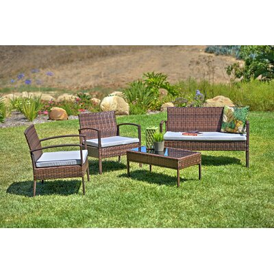 4 Piece Patio Sofa Set With Cushions Frame Color: Brown, Cushion Color: Light Gray