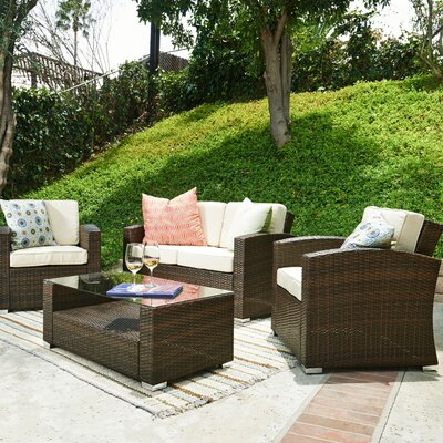 Bahia Garden 4 Piece Patio Deep Seating Group with Cushions