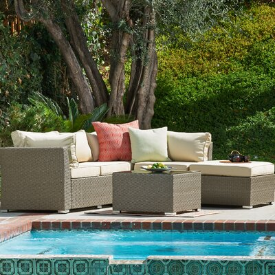 Jicaro Garden 5 Piece Wicker Deep Seating Group with Cushions