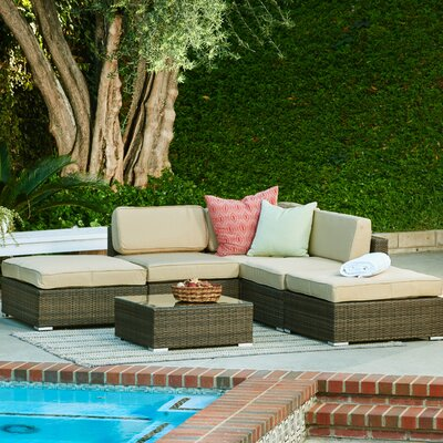 Barton Garden 6 Piece Patio Wicker Sectional Seating Group with Cushions Frame Finish: Dark Brown