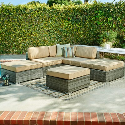 Barton Garden 6 Piece Patio Wicker Sectional Seating Group with Cushions Frame Finish: Gray