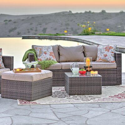 Caribe Garden 4 Piece Wicker Deep Seating Group with Cushions Frame Finish: Dark Brown