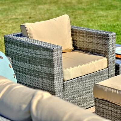 Caribe Garden 4 Piece Wicker Deep Seating Group with Cushions Frame Finish: Gray