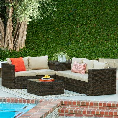 Garden 4 Piece Wicker Storage Deep Seating Group with Cushions Frame Finish: Dark Brown