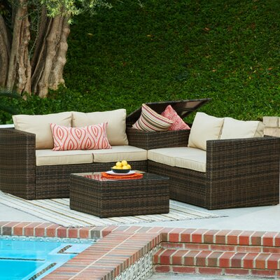Garden 4 Piece Wicker Storage Deep Seating Group with Cushions