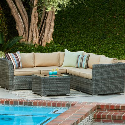 Garden 4 Piece Wicker Deep Seating Group with Cushions Frame Finish: Brown