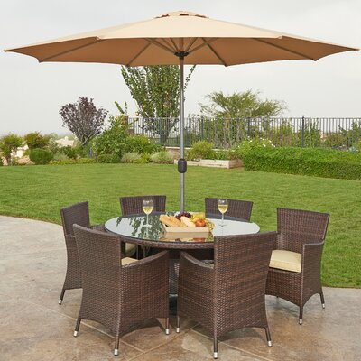 Caso 8 Piece Outdoor Wicker Dining Set with Cushions and Umbrella