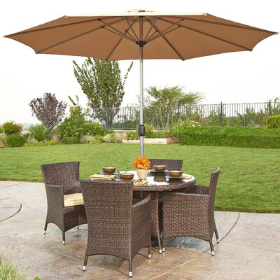Gita 6 Piece Outdoor Wicker Dining Set with Cushions and Umbrella