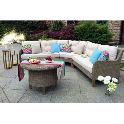 Sorrento Garden 4 Piece Wicker Sectional Seating Group with Cushions