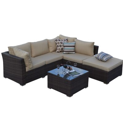Garden 5 Piece Wicker Deep Seating Group with Cushions