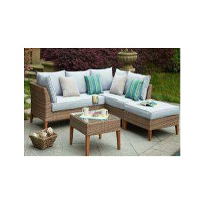 Piedmont Garden 5 Piece Patio Wicker Sectional Seating Group Set with Cushions